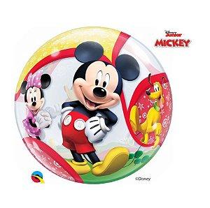 """Balão de Festa Bubble 22"""" 56cm - Mickey e seus Amigos - 01 Unidade - Qualatex Disney - Rizzo Embalagens"""