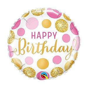 """Balão de Festa Microfoil 18"""" - Birthday Pontos Rosa e Ouro- 01 Unidade - Qualatex - Rizzo Embalagens"""