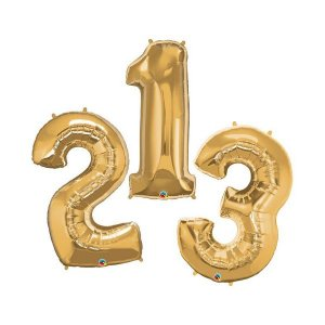 """Balão de Festa Microfoil 34"""" 86cm - Número Ouro - 01 Unidade - Qualatex - Rizzo Embalagens"""