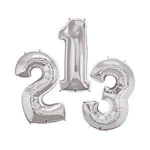 """Balão de Festa Microfoil 34"""" 86cm - Número Prata - 01 Unidade - Qualatex - Rizzo Embalagens"""