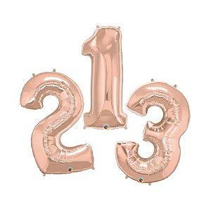 """Balão de Festa Microfoil 34"""" 86cm - Número Rose Gold - 01 Unidade - Qualatex - Rizzo Embalagens"""