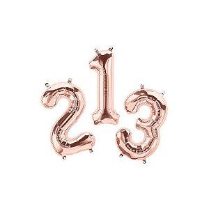 """Balão de Festa Microfoil 16"""" 40cm - Número Rose Gold - 01 Unidade - Qualatex - Rizzo Embalagens"""