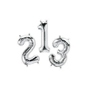 """Balão de Festa Microfoil 16"""" 40cm - Número Prata - 01 Unidade - Qualatex - Rizzo Embalagens"""