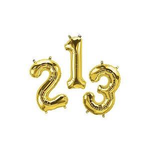 """Balão de Festa Microfoil 16"""" 40cm - Número Ouro - 01 Unidade - Qualatex - Rizzo Embalagens"""