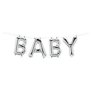 """Balão de Festa Microfoil 16"""" 40cm - Baby Prata - 01 Unidade - Qualatex - Rizzo Embalagens"""