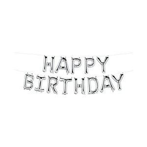 "Balão de Festa Microfoil 16"" 40cm - Happy Birthday Prata - 01 Unidade - Qualatex - Rizzo Embalagens"