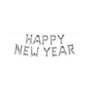 """Balão de Festa Microfoil 16"""" 40cm - New Year Prata - 01 Unidade - Qualatex - Rizzo Embalagens"""