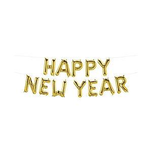 """Balão de Festa Microfoil 16"""" 40cm - New Year Ouro - 01 Unidade - Qualatex - Rizzo Embalagens"""