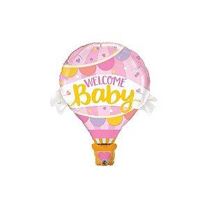 """Balão de Festa Microfoil 42"""" 107cm - Bem Vindo Bebê Rosa - 01 Unidade - Qualatex - Rizzo Balões"""