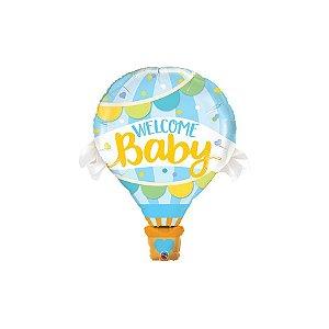 """Balão de Festa Microfoil 42"""" 107cm - Bem Vindo Bebê Azul - 01 Unidade - Qualatex - Rizzo Balões"""