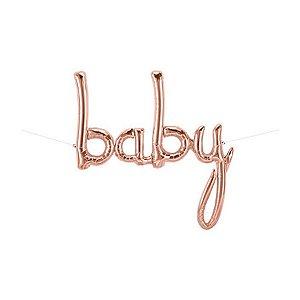 """Balão de Festa Microfoil 46"""" 117cm - Baby Rose Gold - 01 Unidade - Qualatex - Rizzo Embalagens"""
