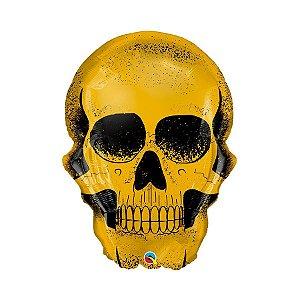 """Balão de Festa Microfoil 36"""" 91cm - Crânio Dourado - 01 Unidade - Qualatex - Rizzo Embalagens"""