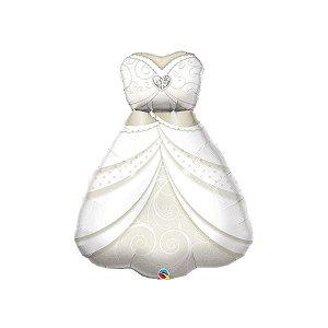 """Balão de Festa Microfoil 38"""" 96cm - Vestido de Noiva - 01 Unidade - Qualatex - Rizzo Embalagens"""