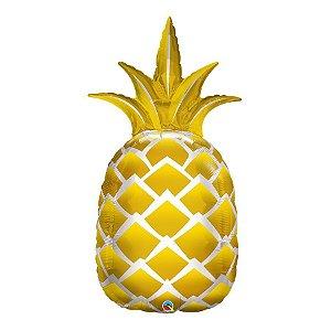 """Balão de Festa Microfoil 44"""" 112cm - Abacaxi Dourado - 01 Unidade - Qualatex - Rizzo Embalagens"""