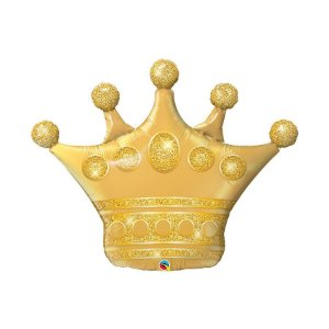 """Balão de Festa Microfoil 41"""" 104cm - Coroa Dourada - 01 Unidade - Qualatex - Rizzo Embalagens"""
