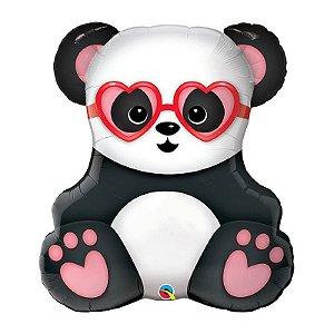 """Balão de Festa Microfoil 32"""" 81cm - Panda Apaixonado - 01 Unidade - Qualatex - Rizzo Embalagens"""