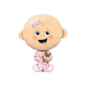 """Balão de Festa Microfoil 38"""" 96cm - Bebê Menina - 01 Unidade - Qualatex - Rizzo Embalagens"""
