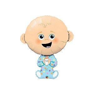 """Balão de Festa Microfoil 38"""" 96cm - Bebê Menino - 01 Unidade - Qualatex - Rizzo Embalagens"""