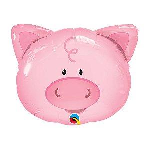 """Balão de Festa Microfoil 30"""" 76cm - Porco - 01 Unidade - Qualatex - Rizzo Embalagens"""