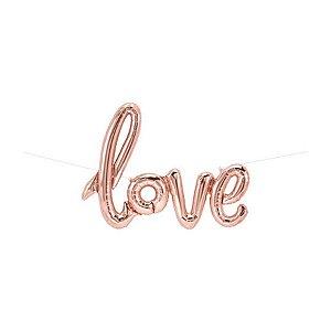 """Balão de Festa Microfoil 40"""" 101cm - Love Rose Gold - 01 Unidade - Qualatex - Rizzo Embalagens"""