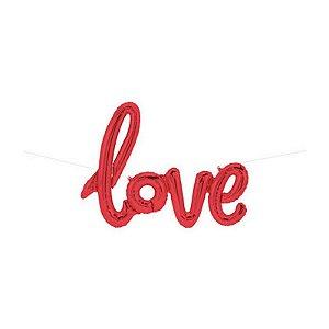 """Balão de Festa Microfoil 40"""" 101cm - Love Vermelho - 01 Unidade - Qualatex - Rizzo Embalagens"""