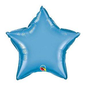 """Balão de Festa Microfoil 20"""" 51cm - Estrela Chrome Azul - 01 Unidade - Qualatex - Rizzo Embalagens"""