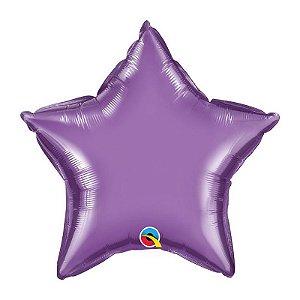 """Balão de Festa Microfoil 20"""" 51cm - Estrela Chrome Roxo - 01 Unidade - Qualatex - Rizzo Embalagens"""