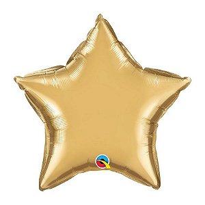 """Balão de Festa Microfoil 20"""" 51cm - Estrela Chrome Ouro - 01 Unidade - Qualatex - Rizzo Embalagens"""