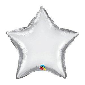 """Balão de Festa Microfoil 20"""" 51cm - Estrela Chrome Prata - 01 Unidade - Qualatex - Rizzo Embalagens"""