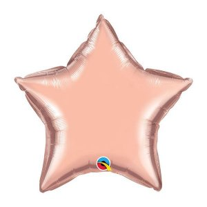 """Balão de Festa Microfoil 20"""" 51cm - Estrela Rose Gold Metalizado - 01 Unidade - Qualatex - Rizzo Embalagens"""