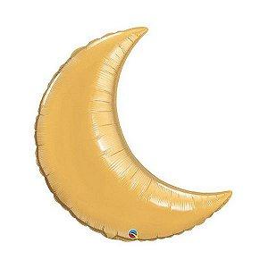"""Balão de Festa Microfoil 35"""" 89cm - Lua Crescente Ouro Metálico - 01 Unidade - Qualatex - Rizzo Embalagens"""
