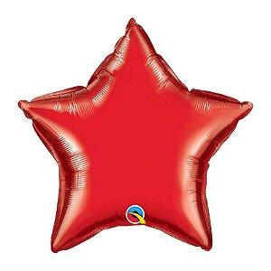 """Balão de Festa Microfoil 20"""" 51cm - Estrela Vermelho Rubi - 01 Unidade - Qualatex - Rizzo Embalagens"""