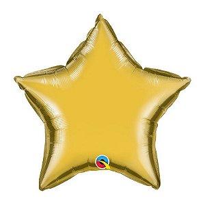 """Balão de Festa Microfoil 20"""" 51cm - Estrela Ouro Metálico - 01 Unidade - Qualatex - Rizzo Embalagens"""