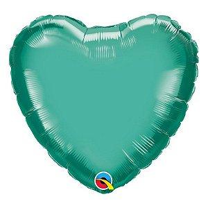 """Balão de Festa Microfoil 18"""" 45cm - Coração Chrome Verde - 01 Unidade - Qualatex - Rizzo Embalagens"""