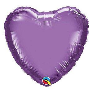 """Balão de Festa Microfoil 18"""" 45cm - Coração Chrome Roxo - 01 Unidade - Qualatex - Rizzo Embalagens"""