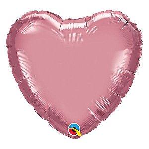 """Balão de Festa Microfoil 18"""" 45cm - Coração Chrome Malva - 01 Unidade - Qualatex - Rizzo Embalagens"""