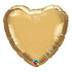 """Balão de Festa Microfoil 18"""" 45cm - Coração Chrome Ouro - 01 Unidade - Qualatex - Rizzo Embalagens"""