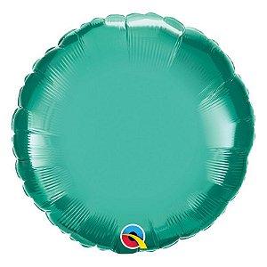 """Balão de Festa Microfoil 18"""" 45cm - Redondo Chrome Verde - 01 Unidade - Qualatex - Rizzo Embalagens"""