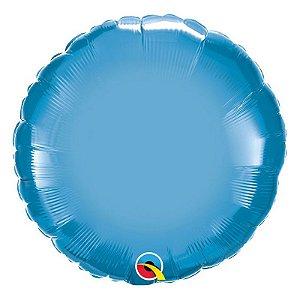 """Balão de Festa Microfoil 18"""" 45cm - Redondo Chrome Azul - 01 Unidade - Qualatex - Rizzo Embalagens"""