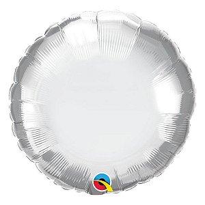 """Balão de Festa Microfoil 18"""" 45cm - Redondo Chrome Prata - 01 Unidade - Qualatex - Rizzo Embalagens"""