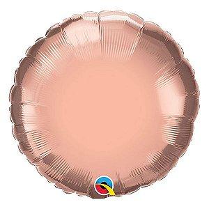 """Balão de Festa Microfoil 18"""" 45cm - Redondo Rose Gold Metalizado - 01 Unidade - Qualatex - Rizzo Embalagens"""