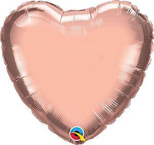 """Balão de Festa Microfoil 18"""" 45cm - Coração Rose Gold Metalizado - 01 Unidade - Qualatex - Rizzo Embalagens"""