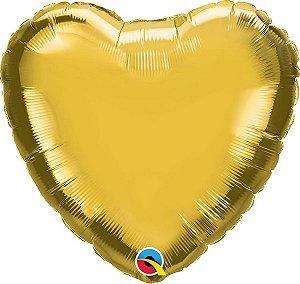 """Balão de Festa Microfoil 18"""" 45cm - Coração Ouro Metálico - 01 Unidade - Qualatex - Rizzo Embalagens"""
