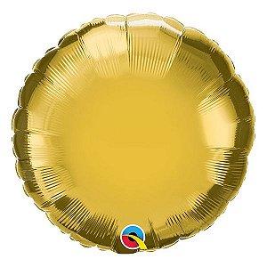 """Balão de Festa Microfoil 18"""" 45cm - Redondo Ouro Metálico - 01 Unidade - Qualatex - Rizzo Embalagens"""