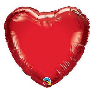 """Balão de Festa Microfoil 18"""" 45cm - Coração Vermelho Rubi - 01 Unidade - Qualatex - Rizzo Embalagens"""