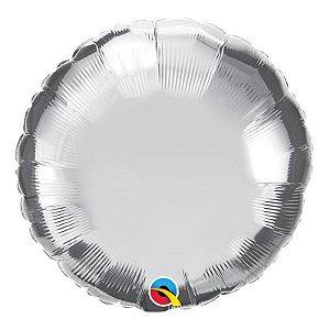 """Balão de Festa Microfoil 18"""" 45cm - Redondo Prata Metalizado - 01 Unidade - Qualatex - Rizzo Embalagens"""