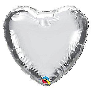 """Balão de Festa Microfoil 18"""" 45cm - Coração Prata Metalizado - 01 Unidade - Qualatex - Rizzo Embalagens"""