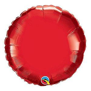 """Balão de Festa Microfoil 18"""" 45cm - Redondo Vermelho Rubi - 01 Unidade - Qualatex - Rizzo Embalagens"""