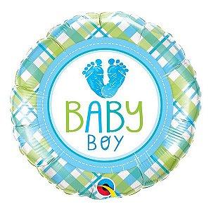 """Balão de Festa Microfoil 18"""" 45cm - Baby Boy Love - 01 Unidade - Qualatex - Rizzo Embalagens"""
