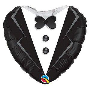 """Balão de Festa Microfoil 18"""" 45cm - Coração Smoking de Casamento - 01 Unidade - Qualatex - Rizzo Embalagens"""